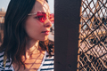 Young woman with a red glasses outdoors - PhotoDune Item for Sale