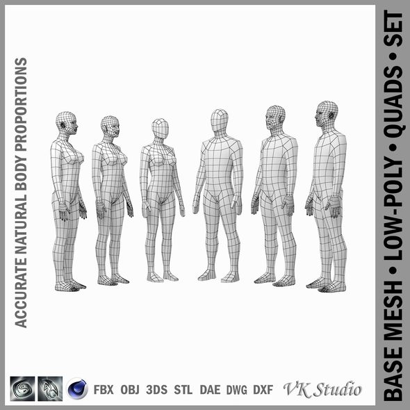 Female and Male Base Mesh Natural Proportions in Rest Pose BUNDLE - 3DOcean Item for Sale