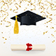 Congratulatory Banner with a Graduate Cap and Diploma - GraphicRiver Item for Sale