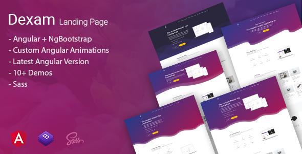 Dexam - Angular Bootstrap App Landing Page