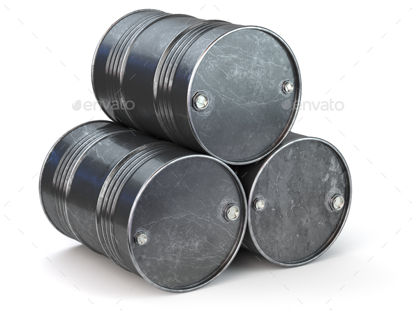 Black metal oil barrels isolated on white background. Oil and pe - Stock Photo - Images