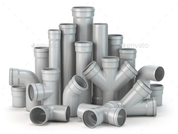 Plastic pvc pipes  isolated on the white background. - Stock Photo - Images