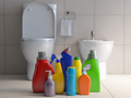 Detergent bottles and containers. Cleaning supplies in wc bathro - PhotoDune Item for Sale