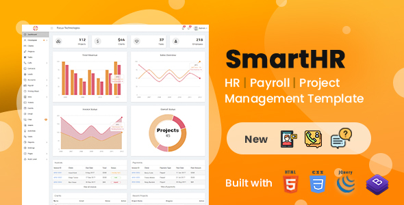 SmartHR(HTML + Angular) - HR, Payroll & Project Mngt Admin Template