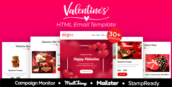 Valentine - Responsive Email Template 30+ Modules - StampReady + Mailster & Mailchimp by EmailStudio
