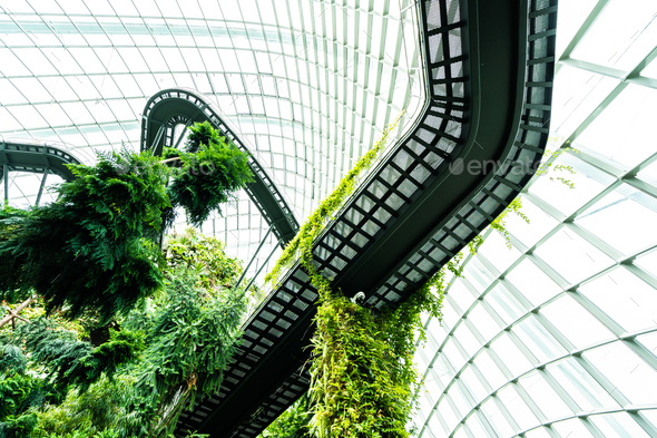 Beautiful architecture building flower dome garden and greenhous - Stock Photo - Images