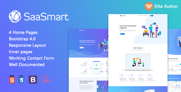 SaasMart – Agency, Saas, Web Application HTML5 Template Free Download