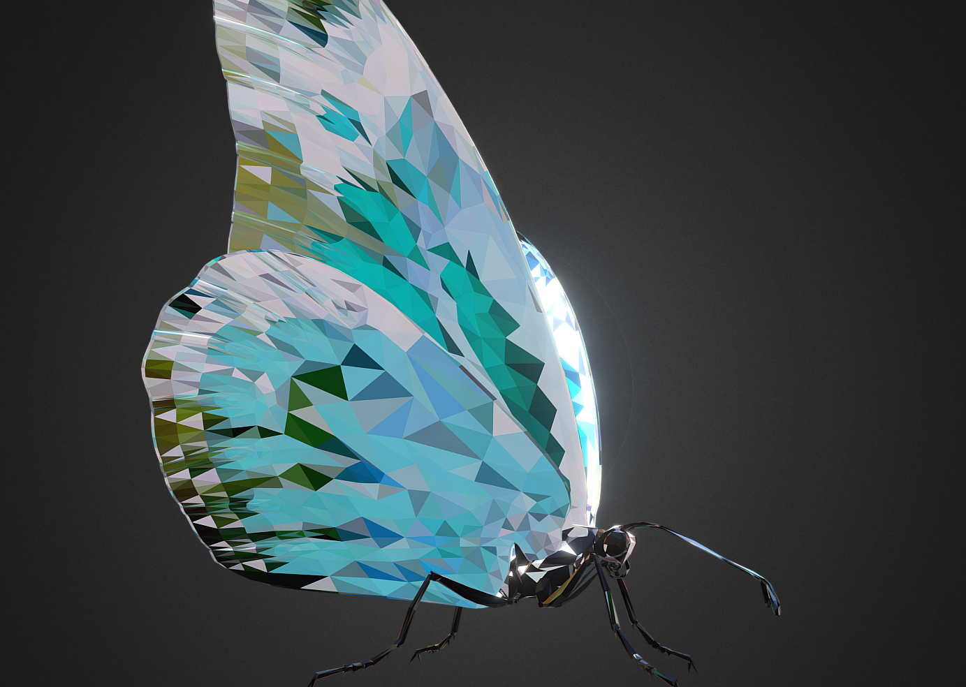 Batterfly Teal Low Polygon Art Insect