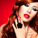 Beautiful fashionable woman with red nails and red hairs - PhotoDune Item for Sale