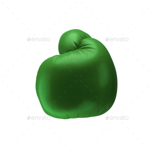 Green boxing glove isolated on white background - Stock Photo - Images