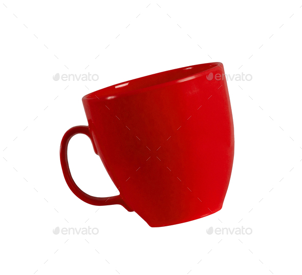 red cup isolated on white - Stock Photo - Images