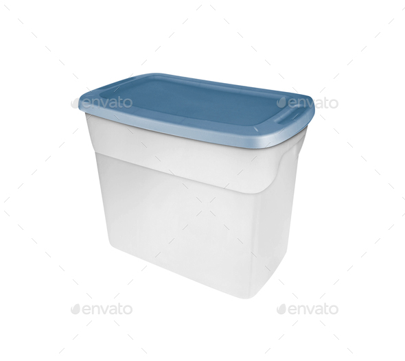Empty food plastic container with green lid isolated on white - Stock Photo - Images