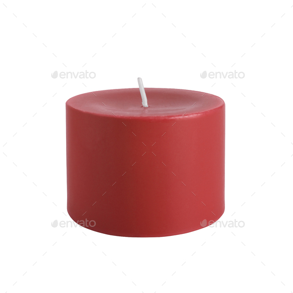 Red candle isolated on white background - Stock Photo - Images