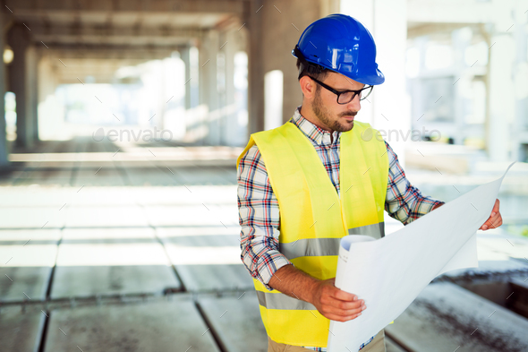 Young business man construction site engineer - Stock Photo - Images