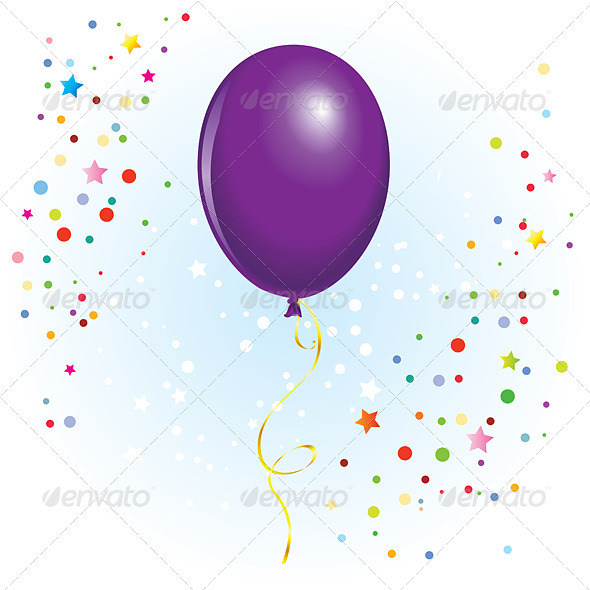 Balloon with Dangling Curly Ribbon - Objects Vectors