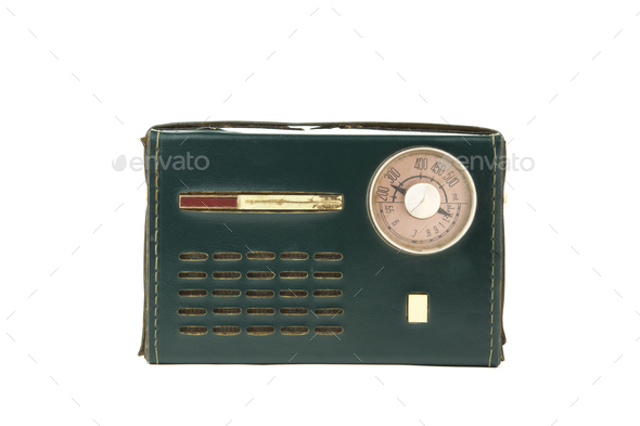 isolated vintage portable radio covered in green leather - Stock Photo - Images