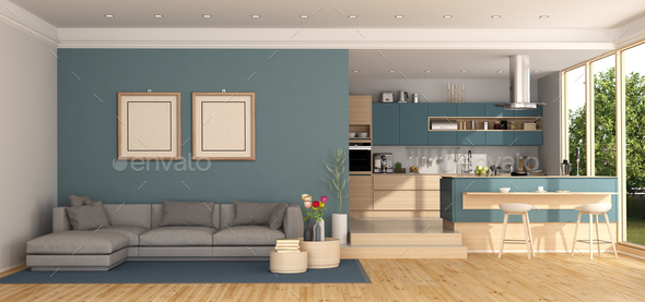 Blue Living Room With Kitchen On Background Stock Photo By Archideaphoto