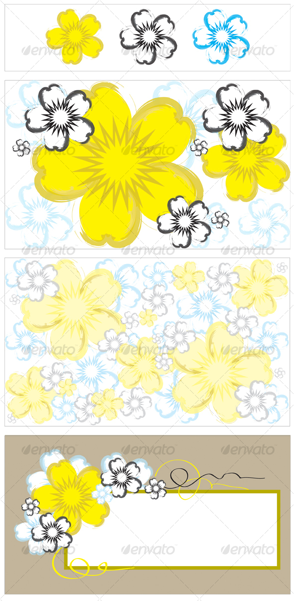 Vector Flower, Background and Banner - Decorative Vectors