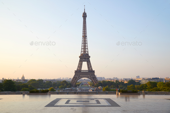 Eiffel tower, clear sunrise at Trocadero, nobody in Paris, France - Stock Photo - Images