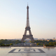 Eiffel tower, clear sunrise at Trocadero, nobody in Paris, France - PhotoDune Item for Sale