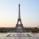Eiffel tower, clear sunrise at Trocadero, nobody in Paris, France - PhotoDune Item for Sale