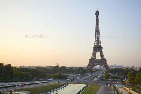 Eiffel tower seen from Trocadero, nobody in a clear summer morning in Paris - Stock Photo - Images