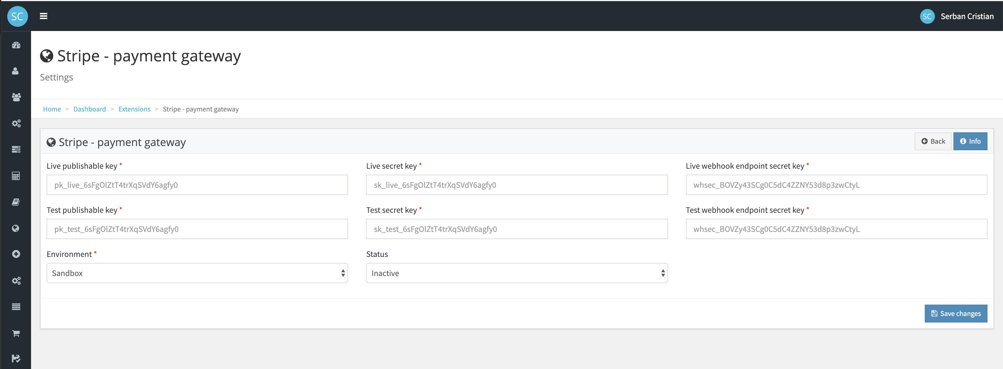 Roboset Integration with Stripe Payment Gateway