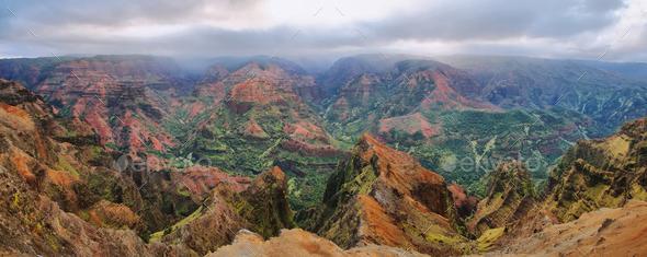 Waimea Canyon in Kauai, Hawaii Islands. - Stock Photo - Images