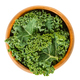 Fresh curly kale leaves in wooden bowl over white - PhotoDune Item for Sale
