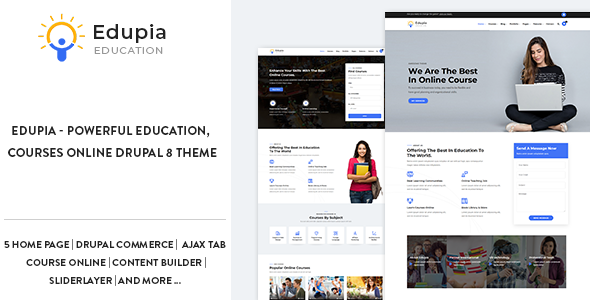 Edupia - Powerful Education, Courses Online Drupal 8 Theme