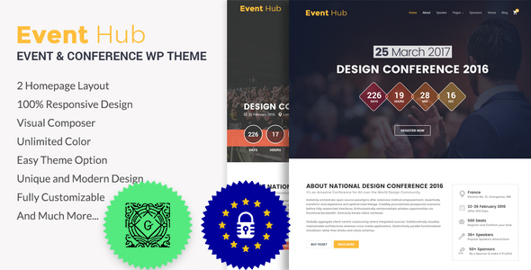 Download Event Hub- Event, Conference WordPress Theme nulled preview banner
