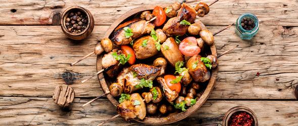 Grilled shish kebab or shashlik - Stock Photo - Images