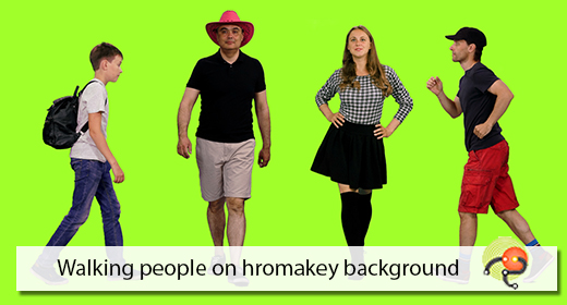 Walking people on chroma key background