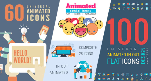 Animated Flat Icons and Concepts Packs
