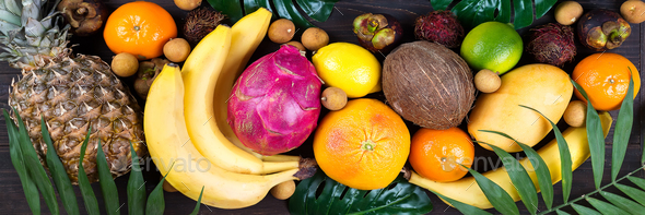 Healthy Rainbow Tropical Fruits Banner With Palm Leaves On Blue Wooden Table Top View Stock Photo By Lyulkamazur Sign in with facebook sign in with twitter. https photodune net item healthy rainbow tropical fruits banner with palm leaves on blue wooden table top view 23234213