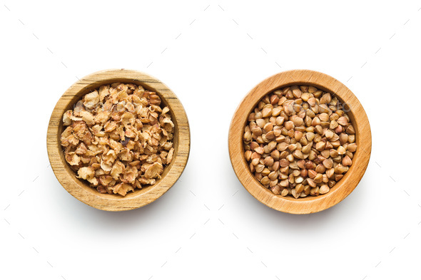 Dry healthy buckwheat and buckwheat flakes. - Stock Photo - Images