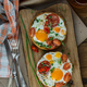 Two toasted bread with sunny side fried egg and tomato - PhotoDune Item for Sale