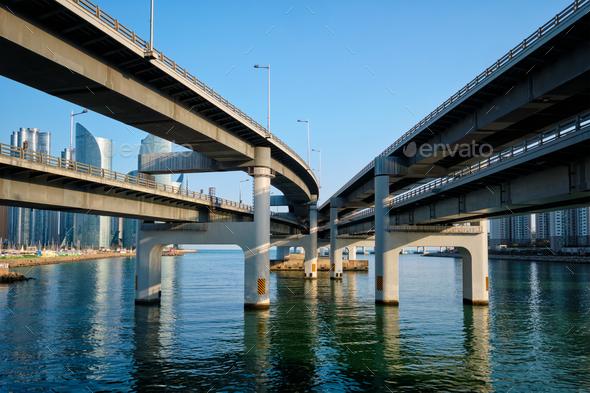 Busan skyscrapers and Gwangan Bridge, South Korea - Stock Photo - Images