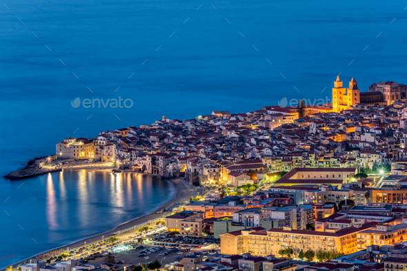 Cefalu in Sicily at twilight - Stock Photo - Images