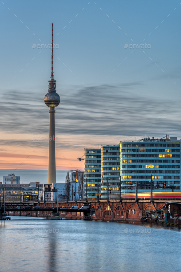 The famous Television Tower and the river Spree - Stock Photo - Images