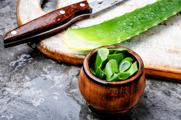Cut Aloe Vera leaves with slice - Stock Photo - Images