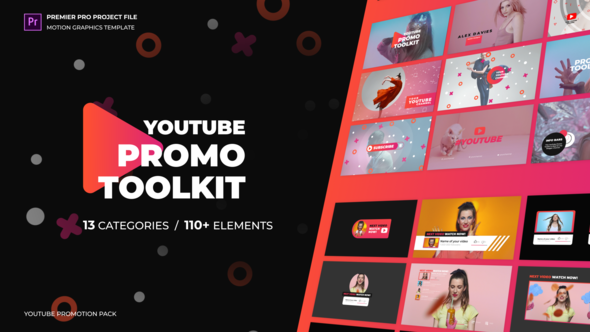 Modern Youtube Promo Toolkit – Essential Graphics | Mogrt