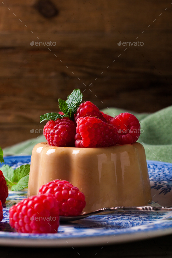 Italian dessert coffee panna cotta - Stock Photo - Images