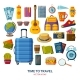 Travel Icons with Suitcase and Sunglasses - GraphicRiver Item for Sale
