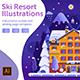 Winter Ski Resort Web Illustrations - GraphicRiver Item for Sale