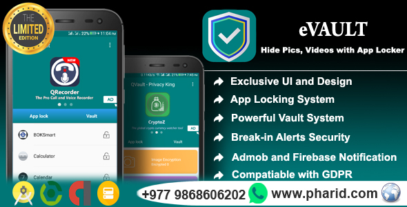 eVault - Hide Pics, Videos with AppLocker | Beautiful UI, Ads Slider, Admob, Push Notification - CodeCanyon Item for Sale