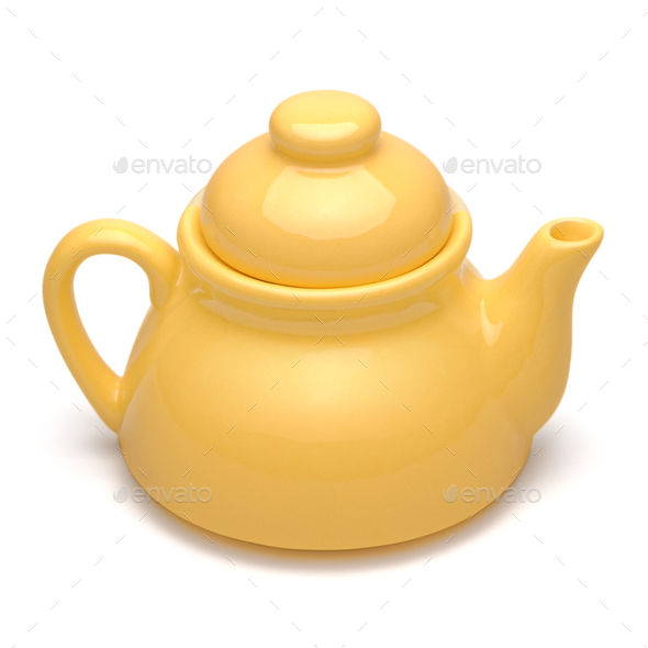 Small yellow teapot - Stock Photo - Images
