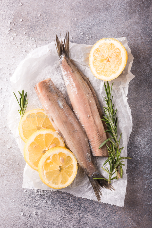 Freshly salted herring - Stock Photo - Images