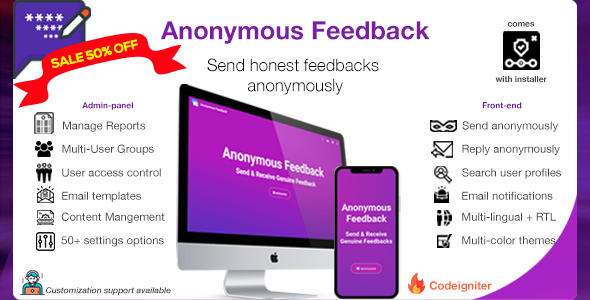 Anonymous Feedback v2.9 - Send Honest Feedbacks - CodeCanyon Item for Sale