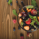 Top view of assorted fruits in glass bowl on kitchen wooden tabl - PhotoDune Item for Sale